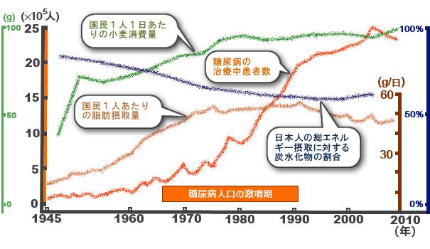 日本の糖尿病患者数と脂質摂取量の推移のグラフ